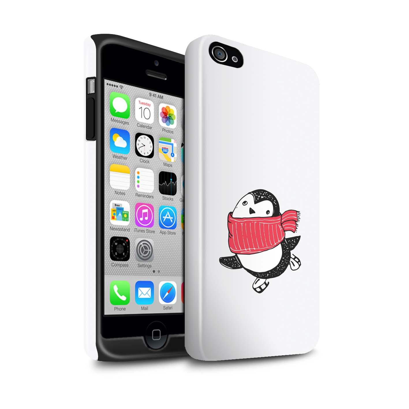 STUFF4-Gloss-Tough-Phone-Case-for-Apple-iPhone-4-4S-Cute-Doodle-Penguin