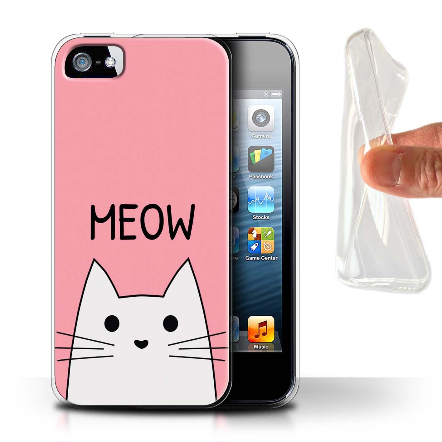 Gel-TPU-Coque-Etui-de-Stuff4-pour-Apple-iPhone-5-5S-Chat-Mignon-Dessin-Anime