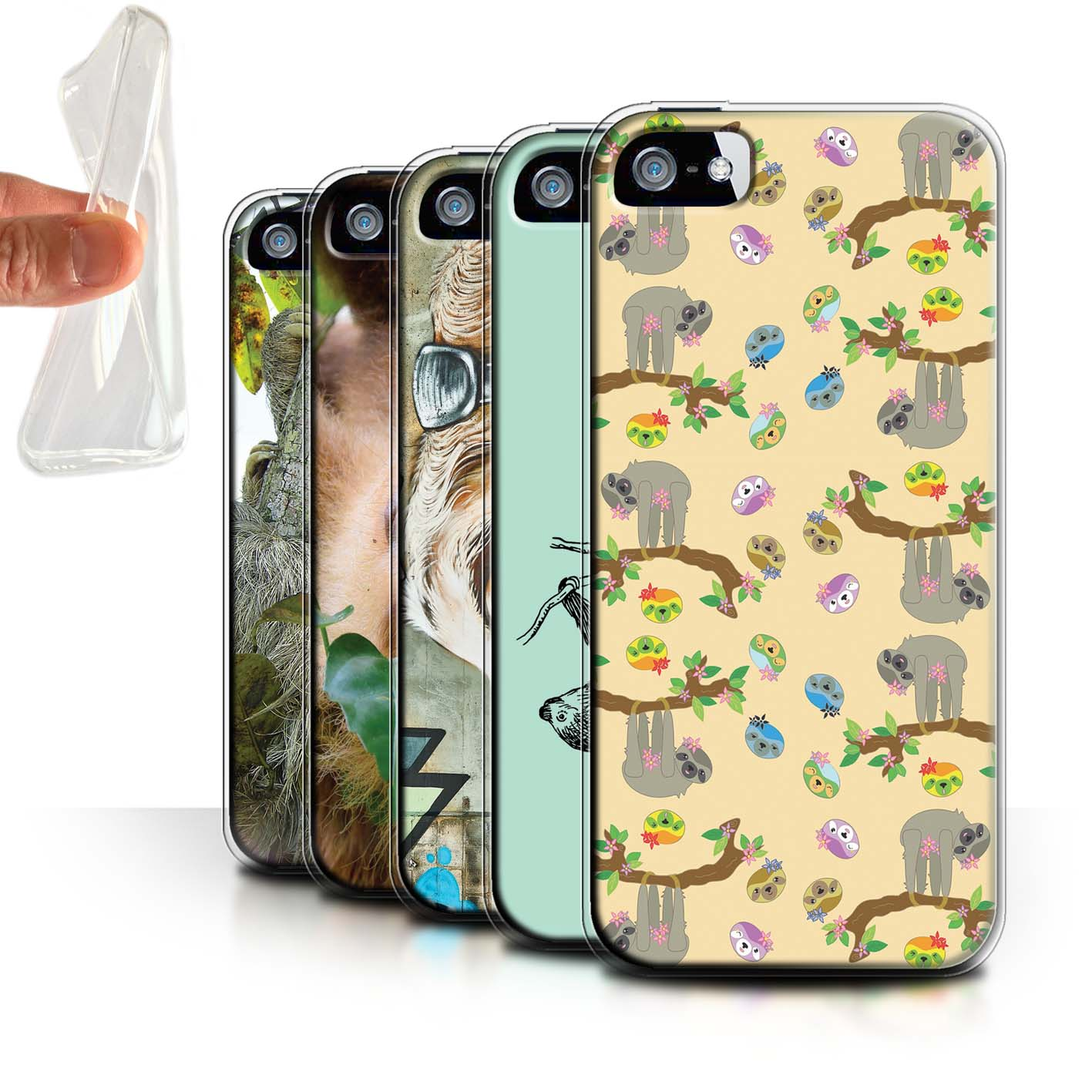 Gel-TPU-Case-for-Apple-iPhone-5-5S-Wild-Animal-Sloth thumbnail 1