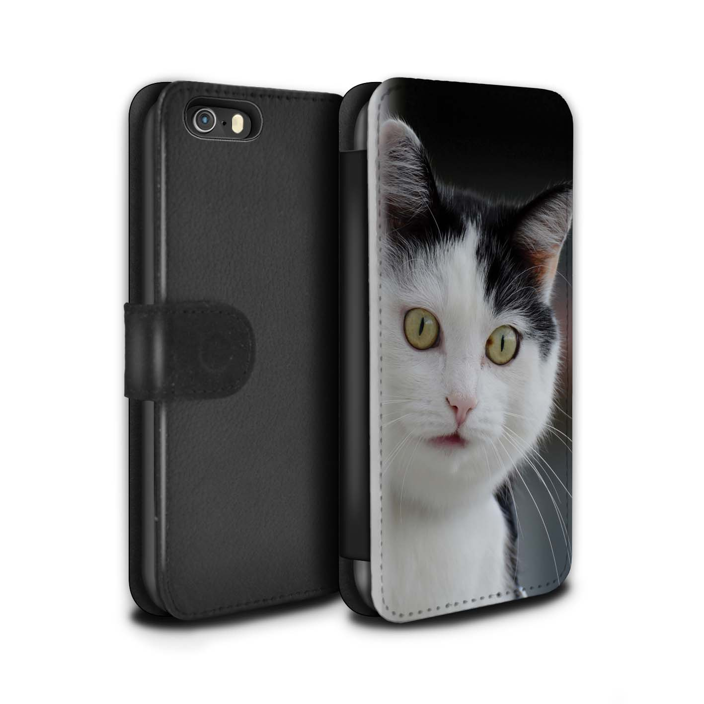 STUFF4-PU-Leather-Case-Cover-Wallet-for-Apple-iPhone-SE-Funny-Animal-Meme