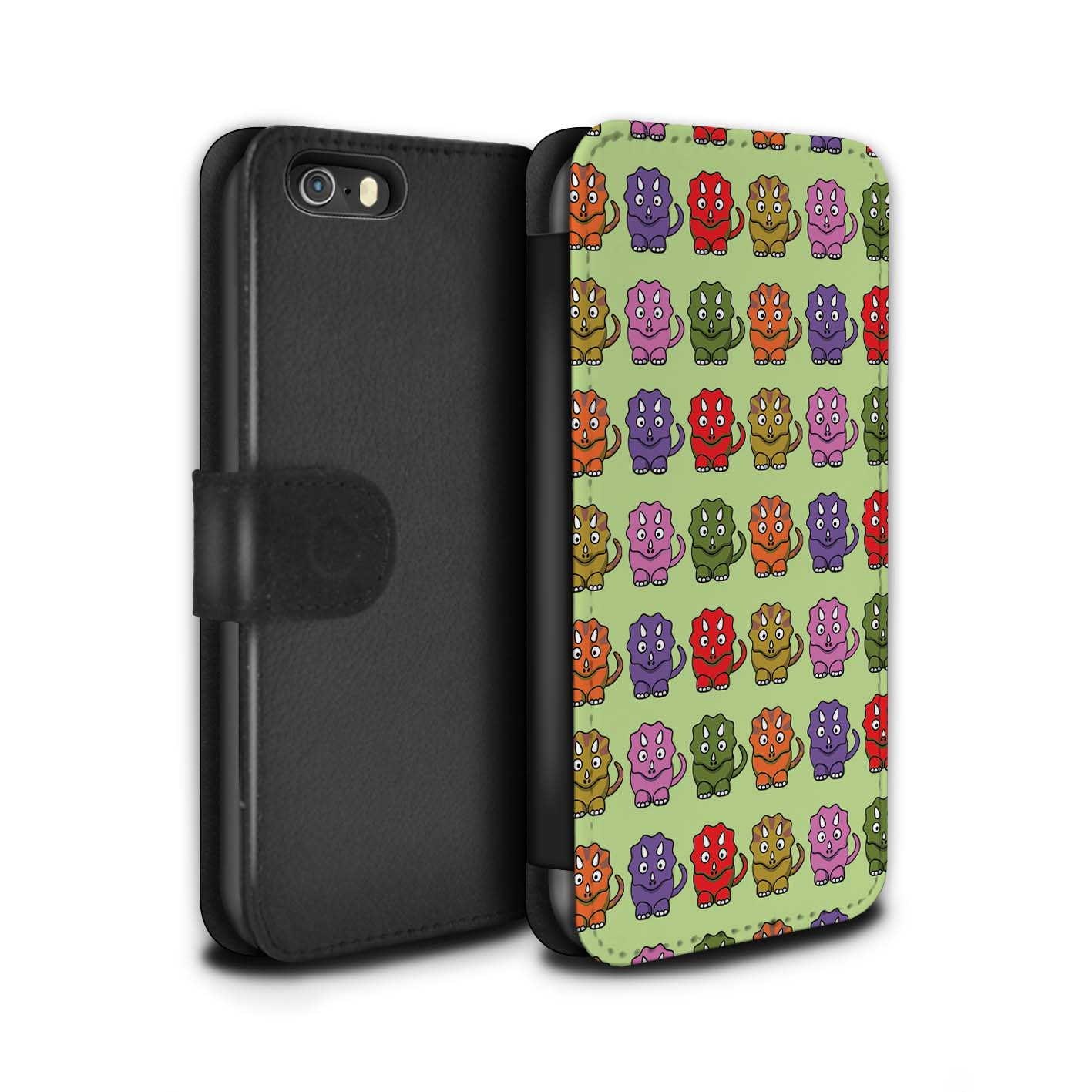STUFF4-PU-Leather-Case-Cover-Wallet-for-Apple-iPhone-SE-Cartoon-Dinosaurs