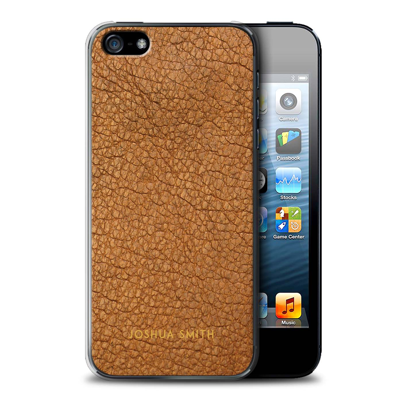 Personnalise-Effet-Cuir-Coutume-Coque-pour-Apple-iPhone-SE-Initiales-Etui-Housse
