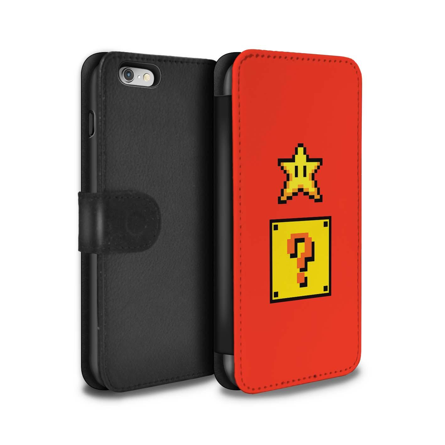 STUFF4-Coque-Etui-Case-Cuir-PU-pour-Apple-iPhone-6-Personnages-Jeu-Retro