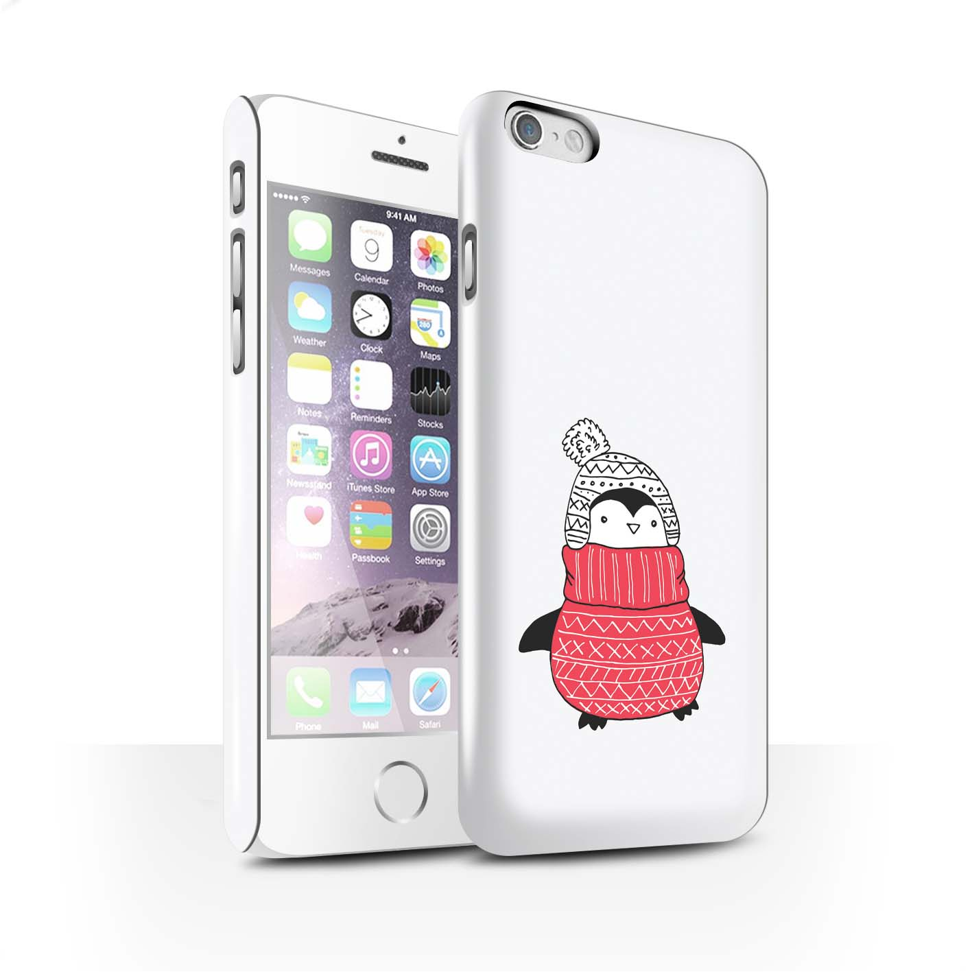 STUFF4-Gloss-Phone-Case-for-Apple-iPhone-6S-Cute-Doodle-Penguin
