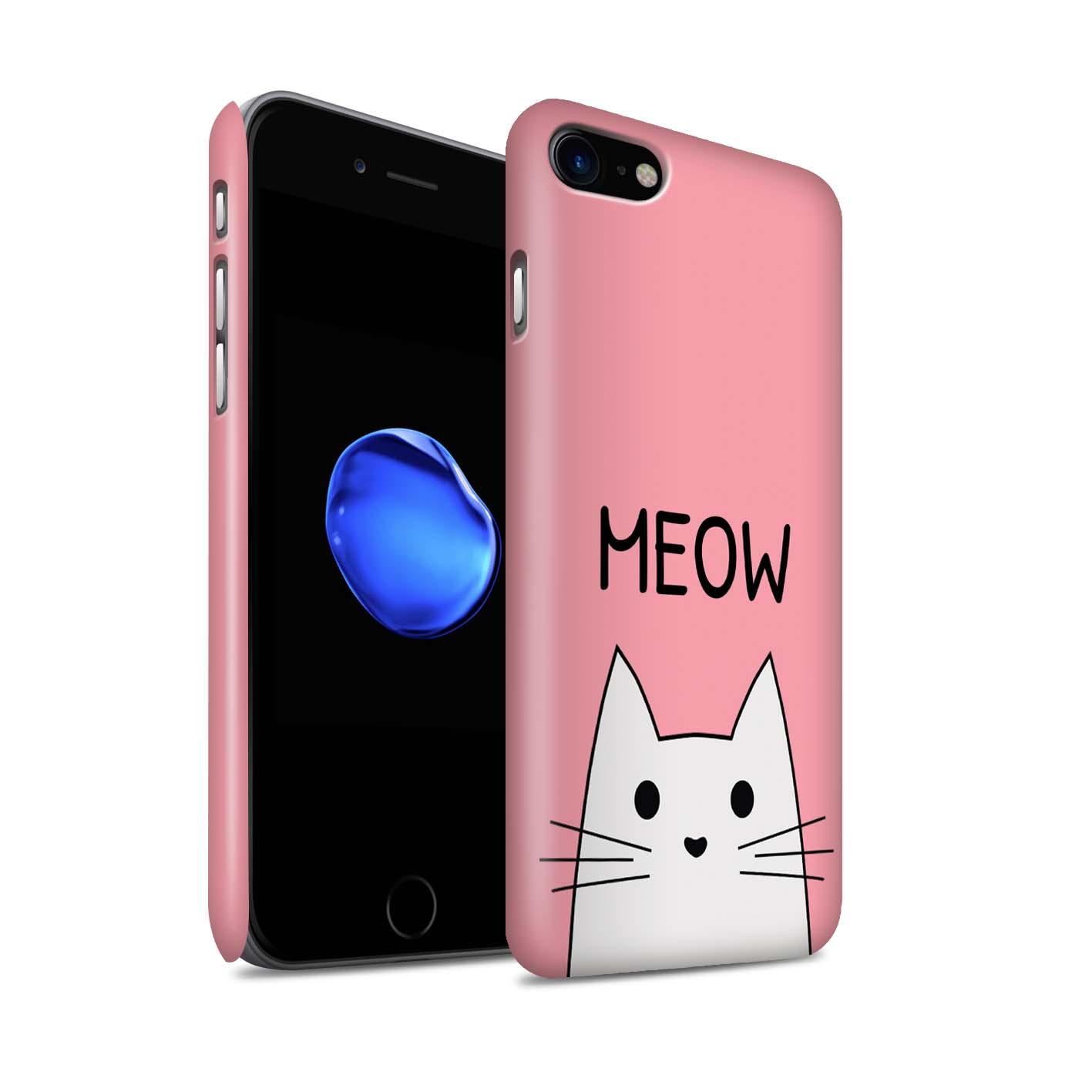STUFF4-Matte-Snap-Huelle-Case-fuer-Apple-iPhone-7-Niedliche-Cartoon-Katze