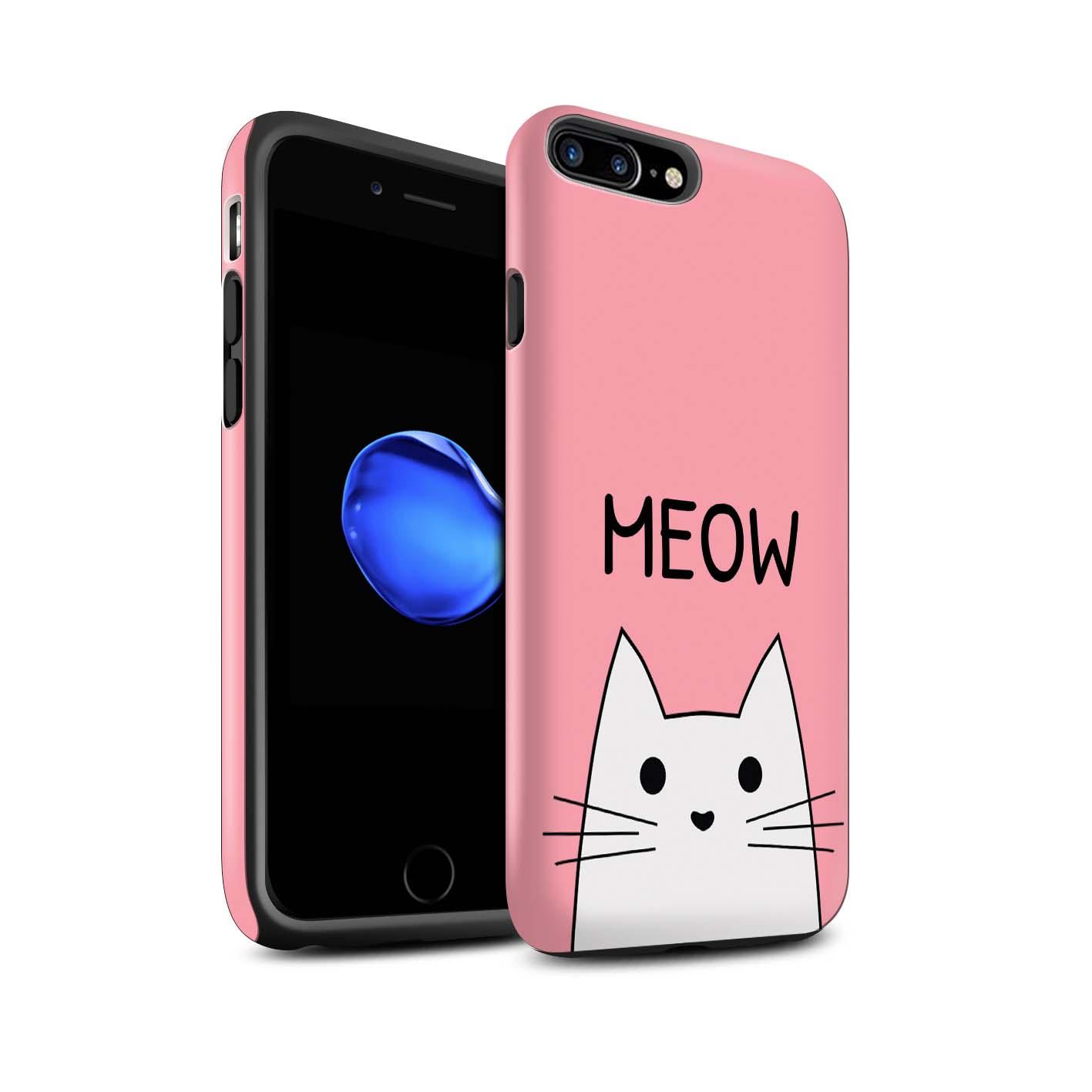 Matte-Zaehen-Huelle-Case-fuer-Apple-iPhone-7-Plus-Niedliche-Cartoon-Katze