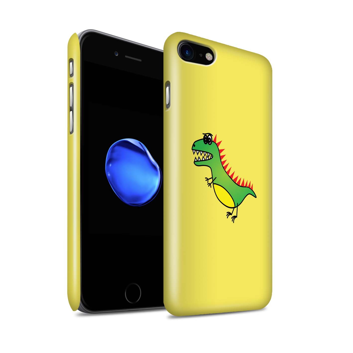 STUFF4-Gloss-Phone-Case-for-Apple-iPhone-8-Cartoon-Dinosaurs