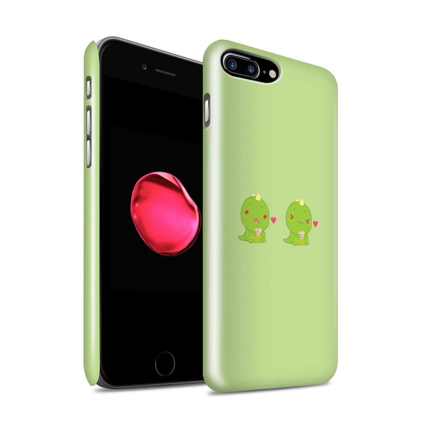 STUFF4-Gloss-Phone-Case-for-Apple-iPhone-8-Plus-Cartoon-Dinosaurs