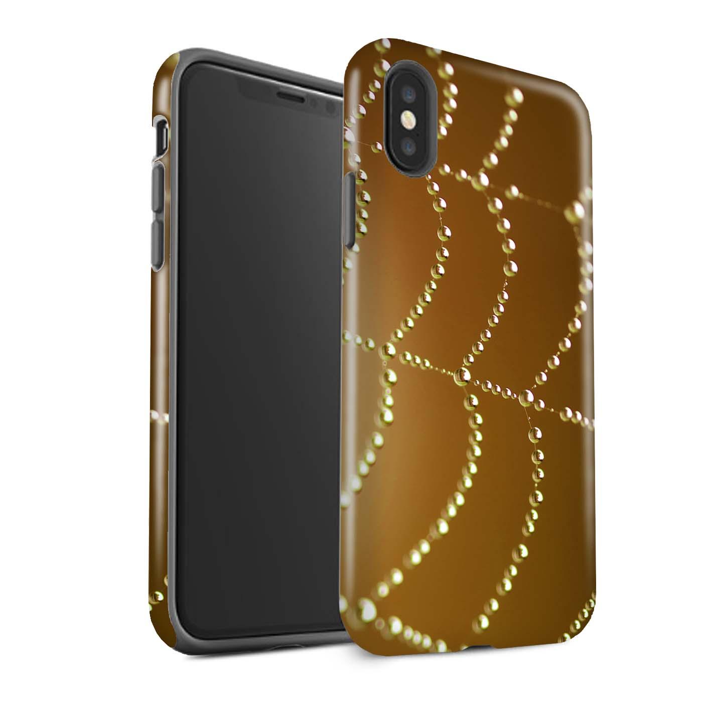 Robuste-Brillant-Antichoc-Etui-pour-Apple-iPhone-X-10-Toile-d-039-araignee-Perles