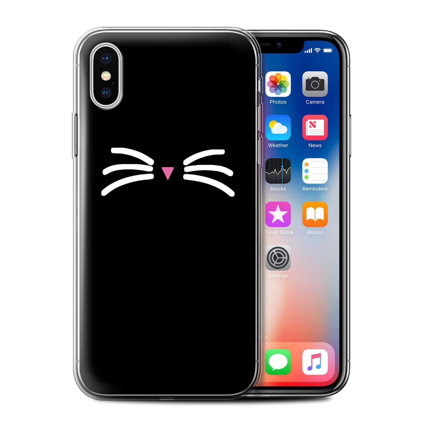 Gel-TPU-Coque-Etui-de-Stuff4-pour-Apple-iPhone-XS-Chat-Mignon-Dessin-Anime