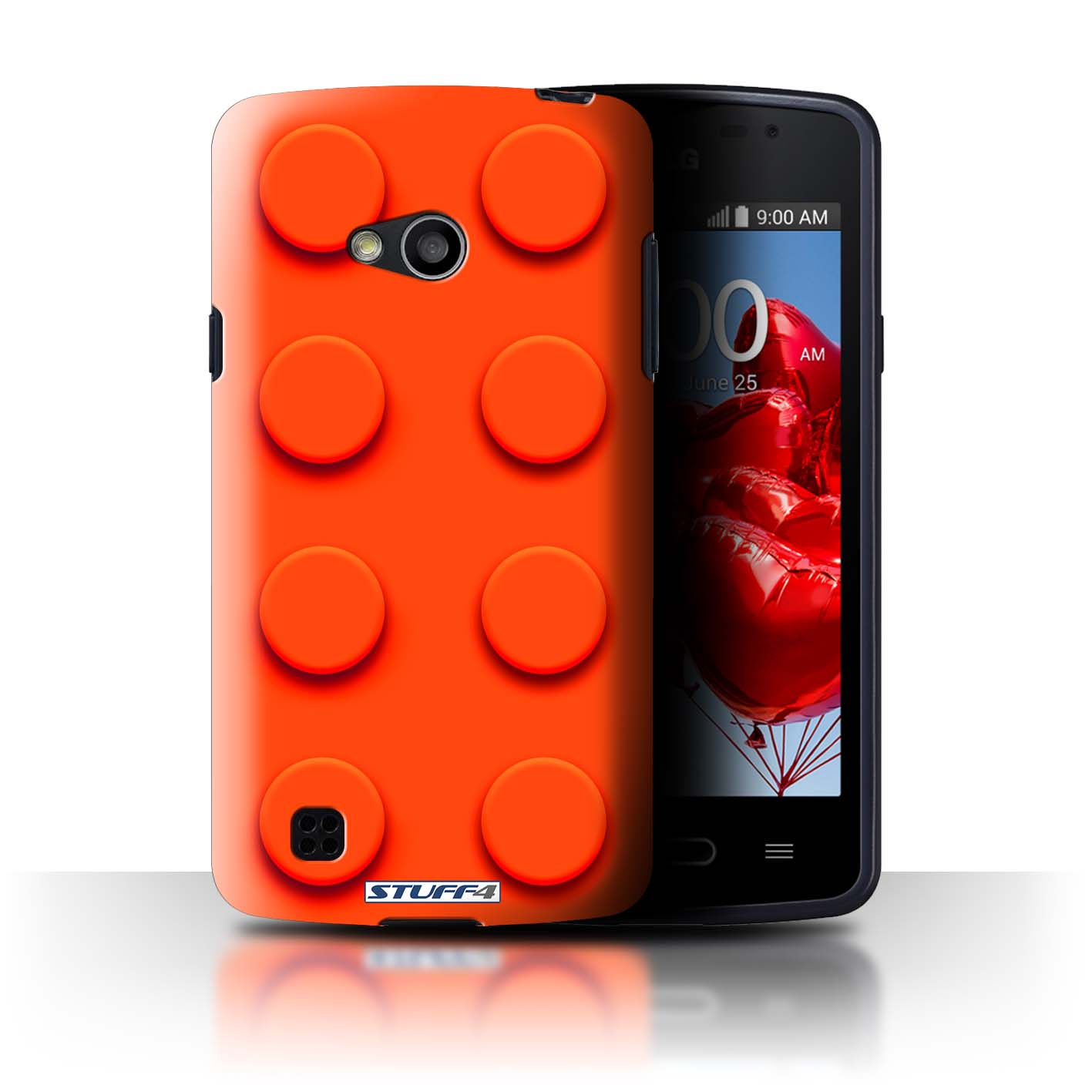Protective Hard Back Case for LG L50/D213 / Toy Bricks/Blocks Collection /  Red