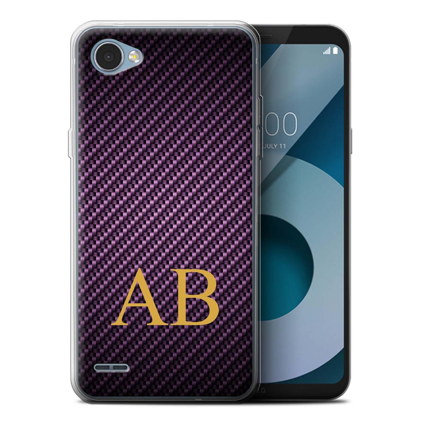 Personalised-Carbon-Fibre-Effect-Case-for-LG-Q6-M700-Initial-Name-Gel-TPU-Cover miniatuur 16