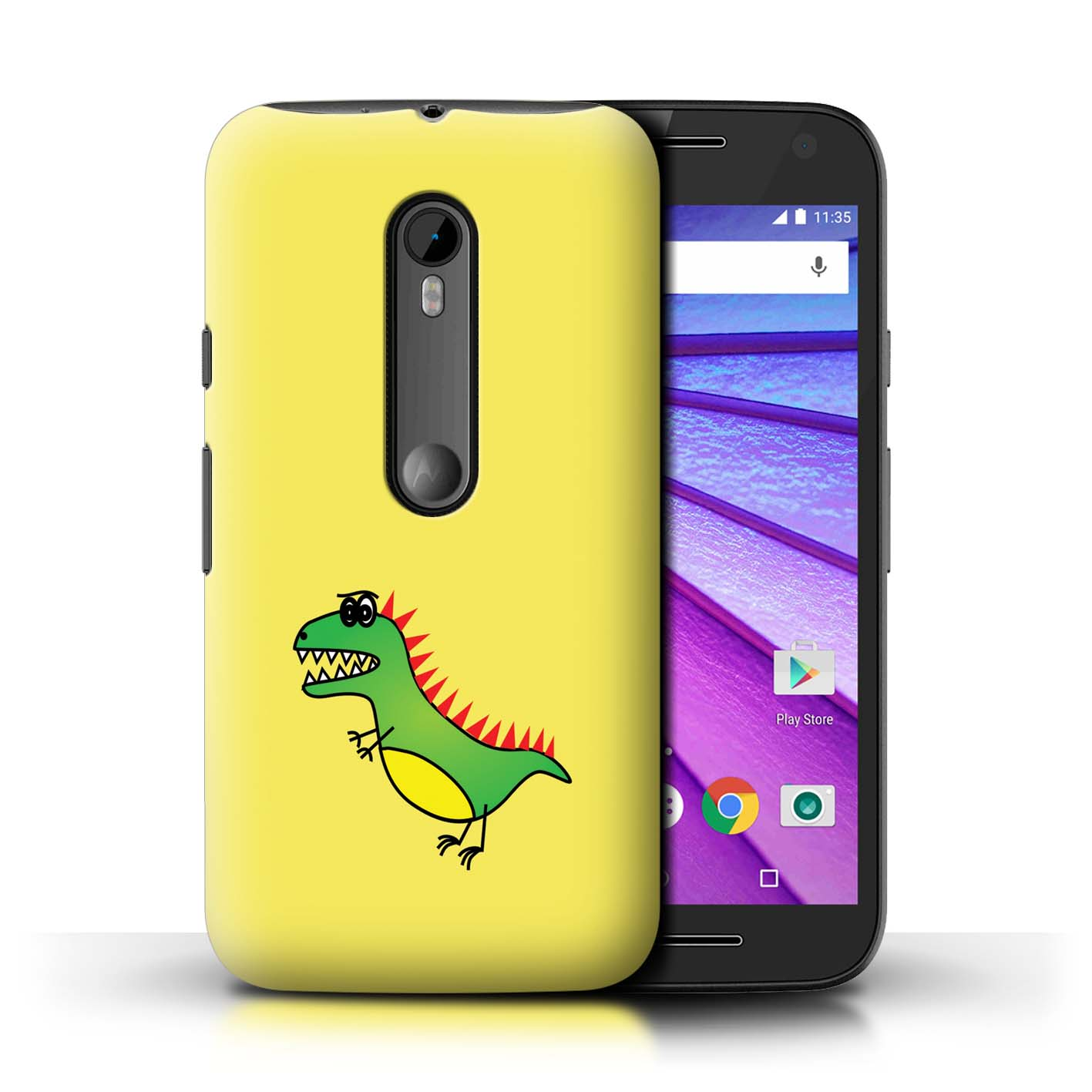 STUFF4-Back-Case-Cover-Skin-for-Motorola-Moto-G-Turbo-Edition-Cartoon-Dinosaurs