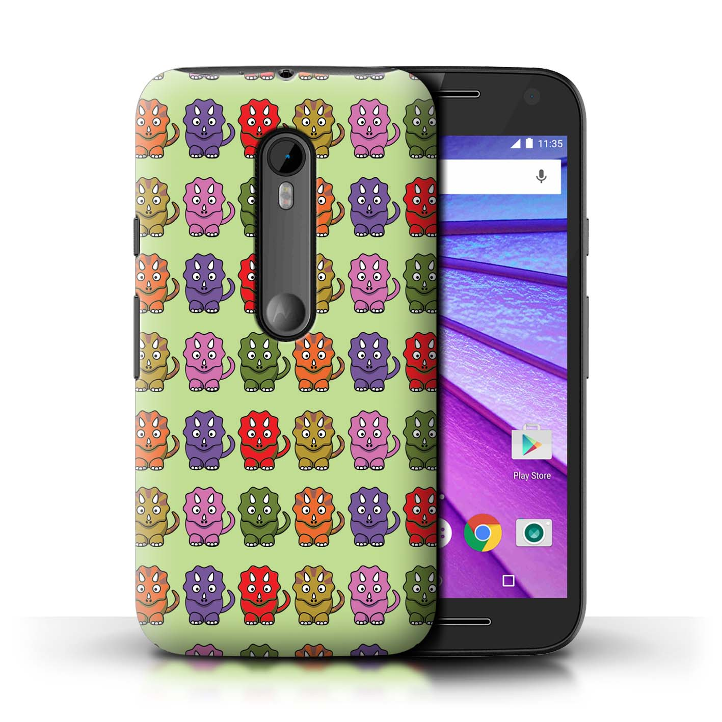 STUFF4-Back-Case-Cover-Skin-for-Motorola-Moto-G-Turbo-Edition-Cartoon-Dinosaurs