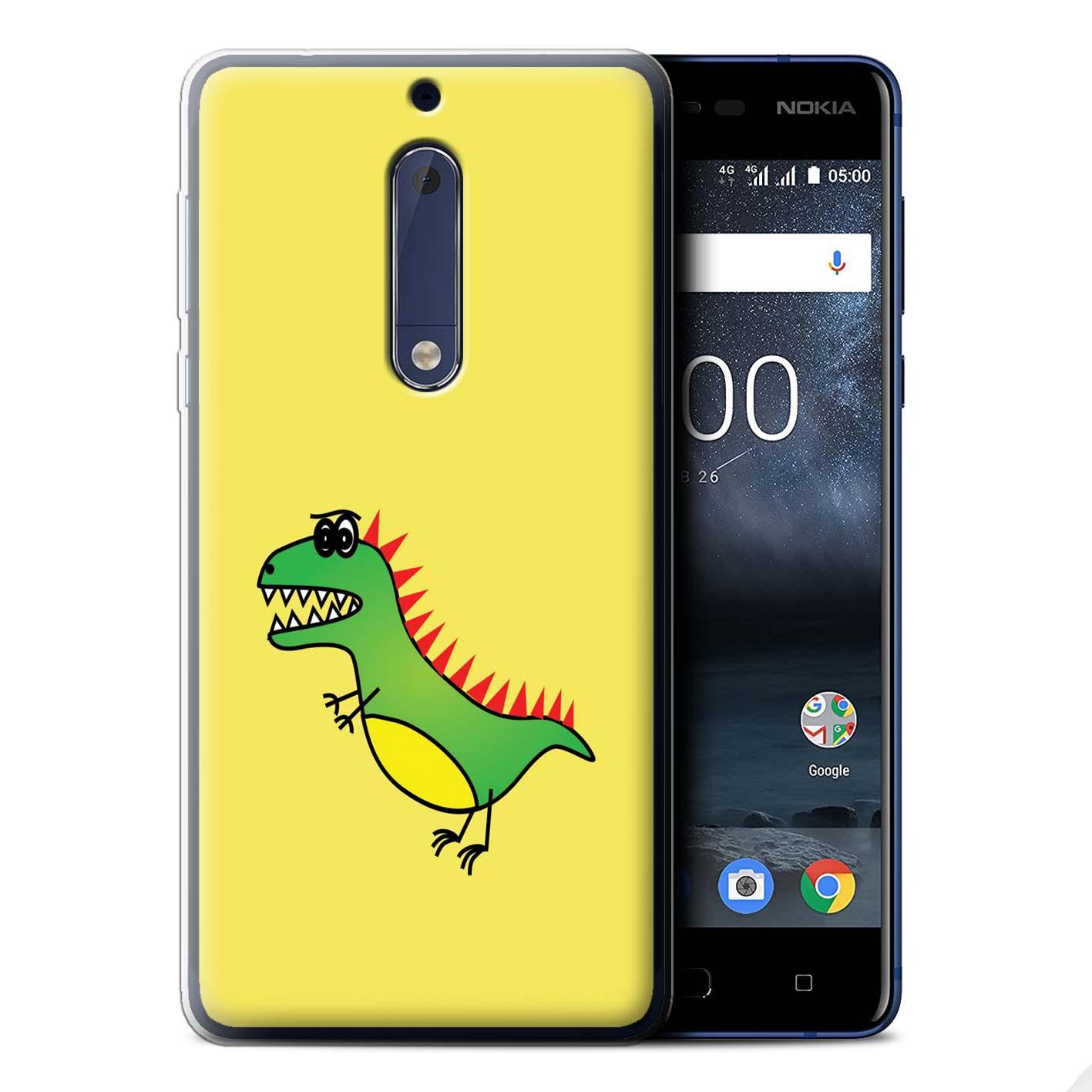 STUFF4-Gel-TPU-Case-Cover-for-Nokia-5-Cartoon-Dinosaurs