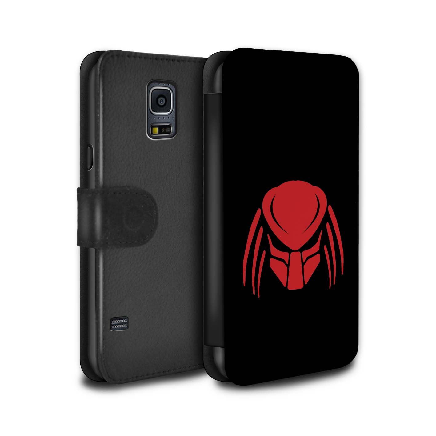 PU-Leather-Case-Cover-Wallet-for-Samsung-Galaxy-S5-Mini-Alien-Hunter-Film-Art