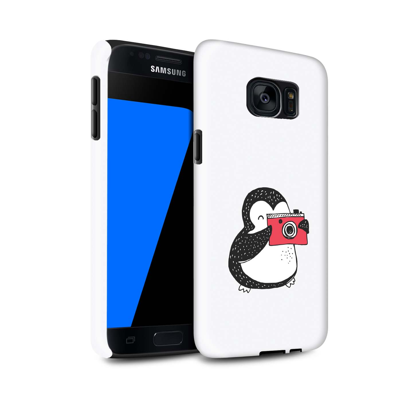 STUFF4-Gloss-Tough-Phone-Case-for-Samsung-Galaxy-S7-G930-Cute-Doodle-Penguin