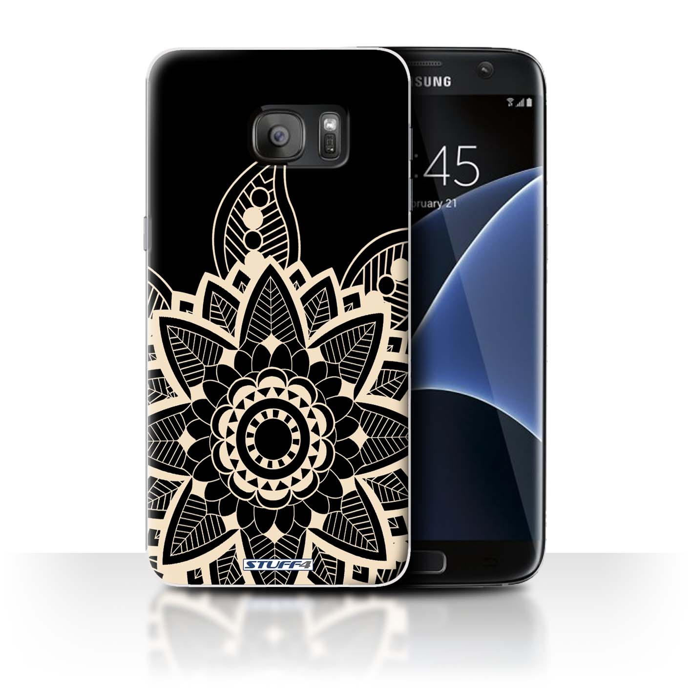 purchase cheap baff9 f1c7d Protective Hard Back Case for Samsung Galaxy S7 Edge/G935 / Henna Tattoo  Collection / Snowflake