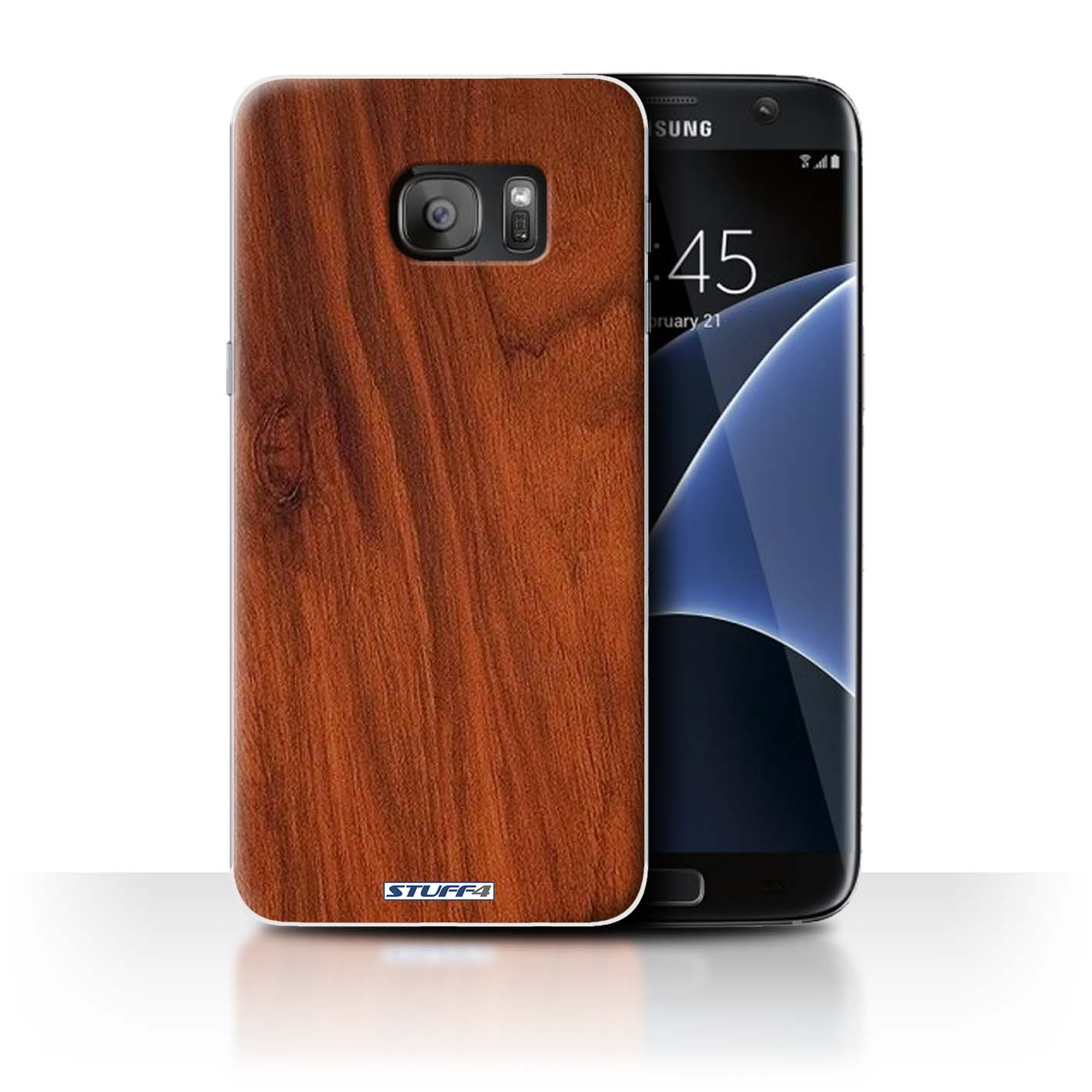 Protective Hard Back Case For Samsung Galaxy S7 Edgeg935 Wood Grain Effectpattern Collection Mahogany