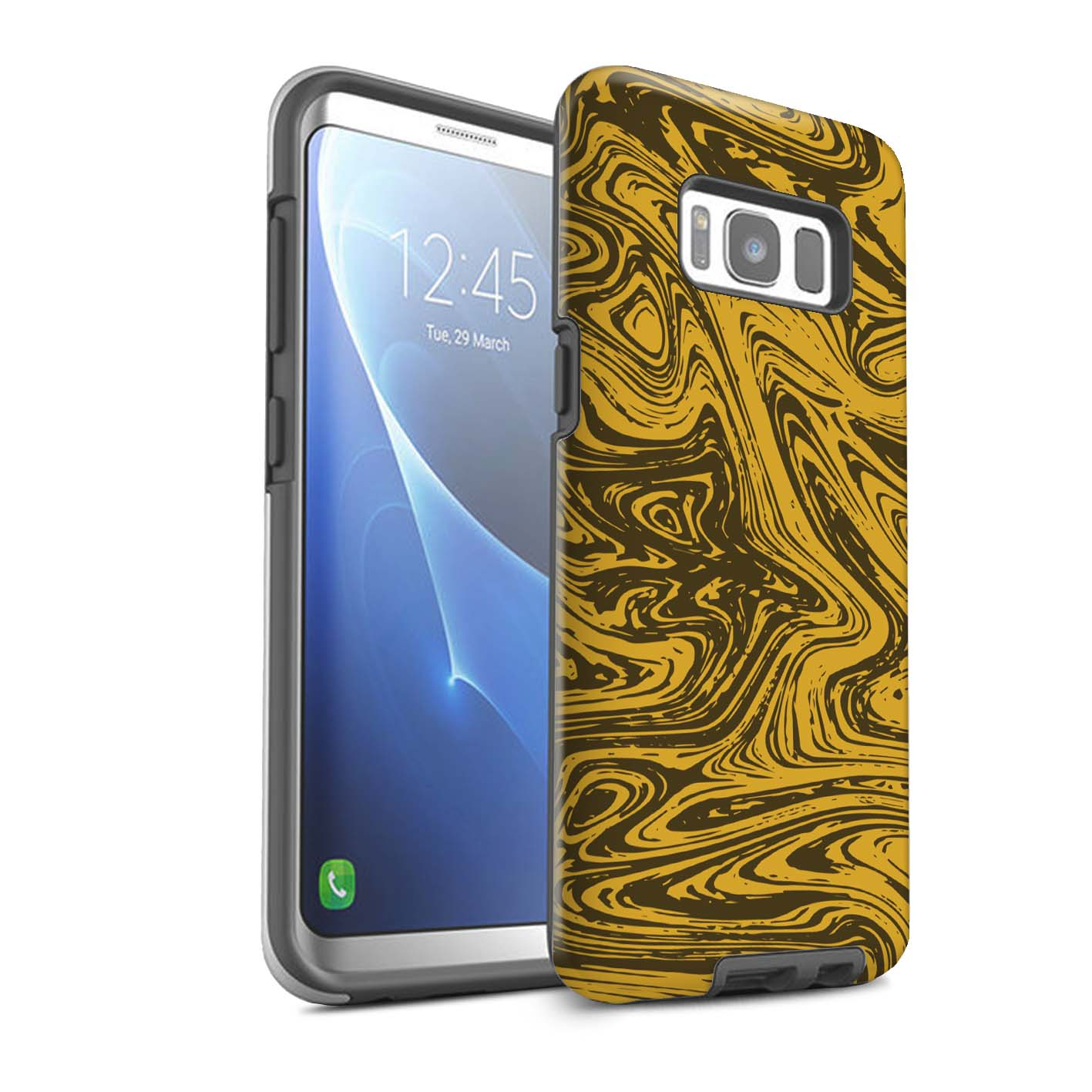 Robuste-Matte-Coque-pour-Samsung-Galaxy-S8-Plus-G955-Effet-Metal-Liquide-Fondu
