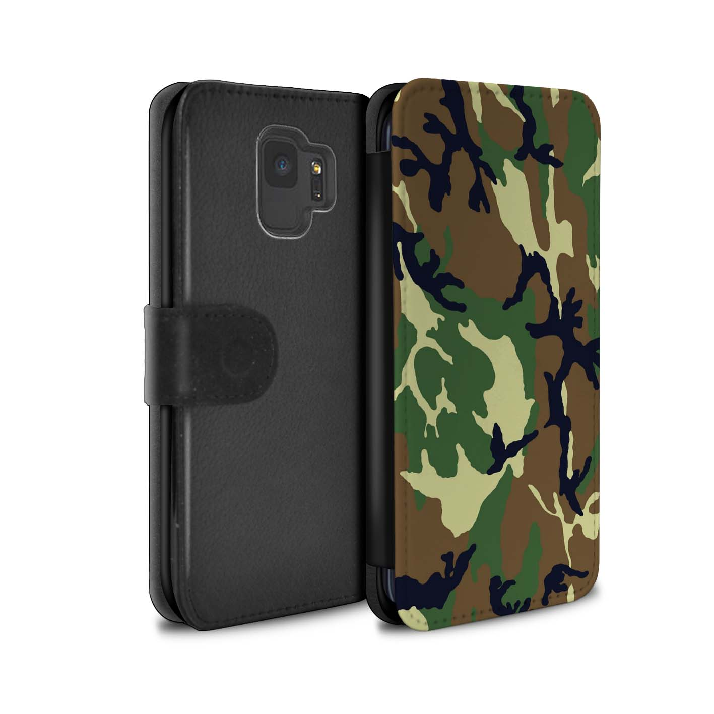 Case-Wallet-for-Samsung-Galaxy-S9-G960-Camouflage-Army-Navy thumbnail 20