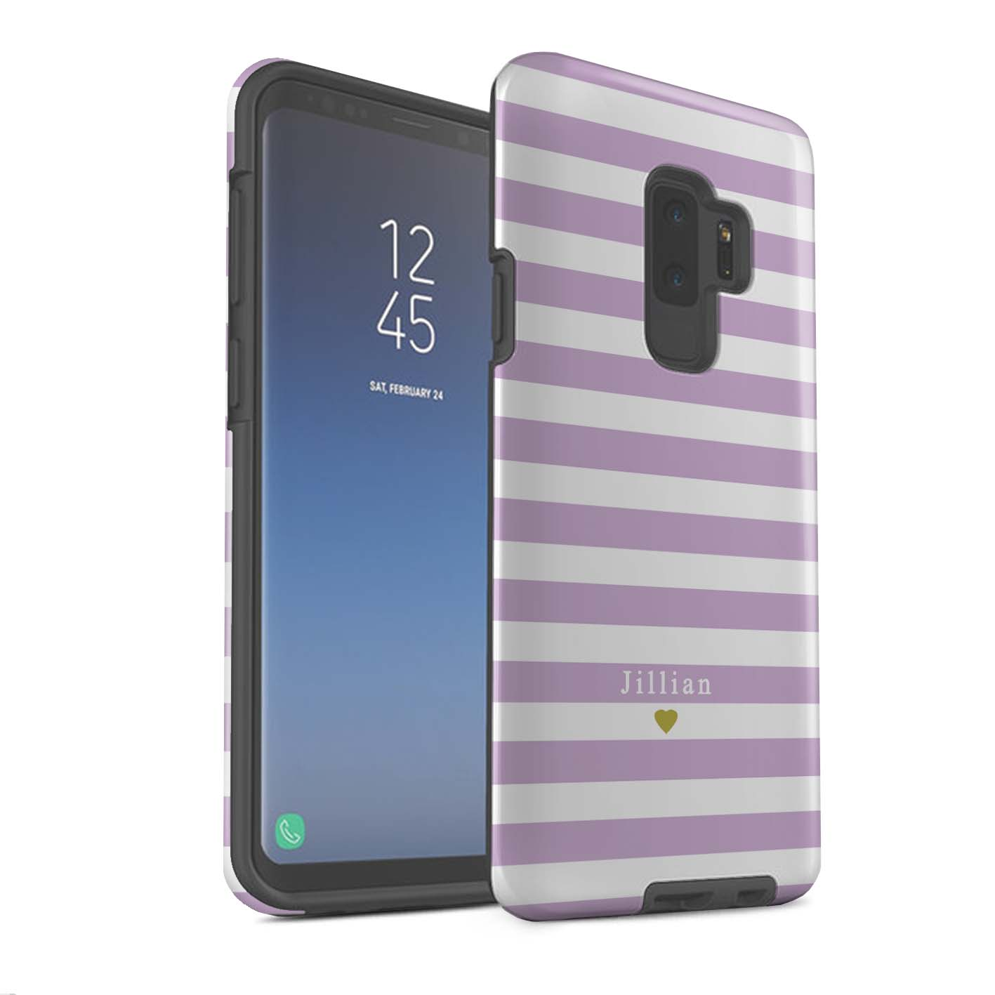Personnalise-Rayures-Rayeutume-Robusteque-Matte-Samsung-Galaxy-S9-Plus-Nom-Texte