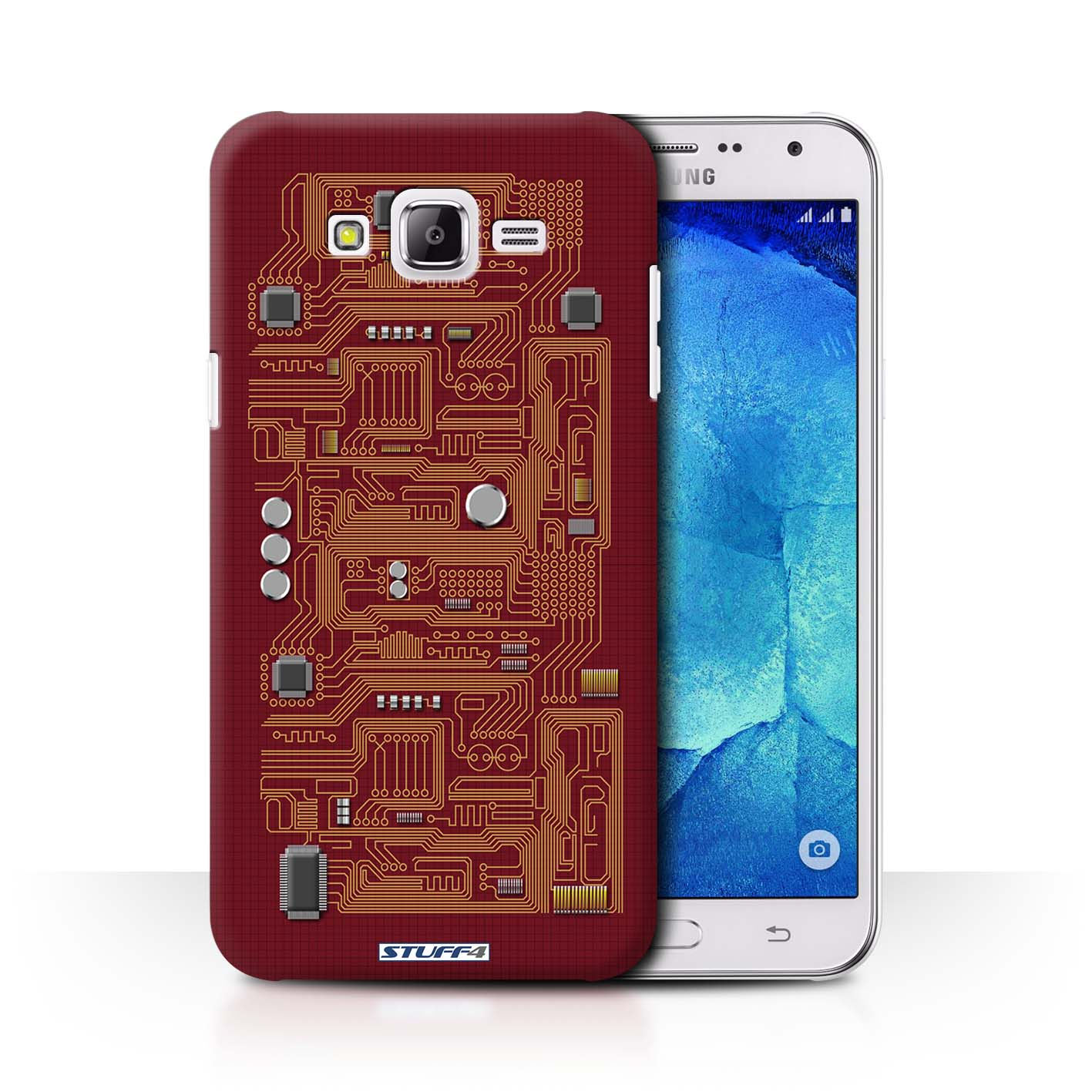 Protective Hard Back Case for Samsung Galaxy J7/J700 / Circuit Board  Collection / Red